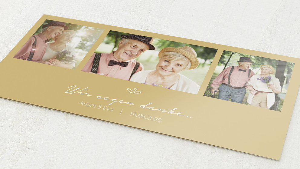 Danksagungskarten Goldene Hochzeit 50 Jahre Herzklopfen Detail