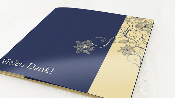 Danksagungskarten Goldene Hochzeit - Sinfonie der Blüten