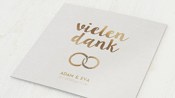 Danksagungskarten Goldene Hochzeit - Edles Gold