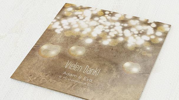 Danksagungskarten Goldene Hochzeit - Luminaria gold