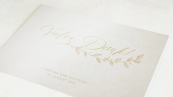 Danksagungskarten Goldene Hochzeit - Goldener Spross