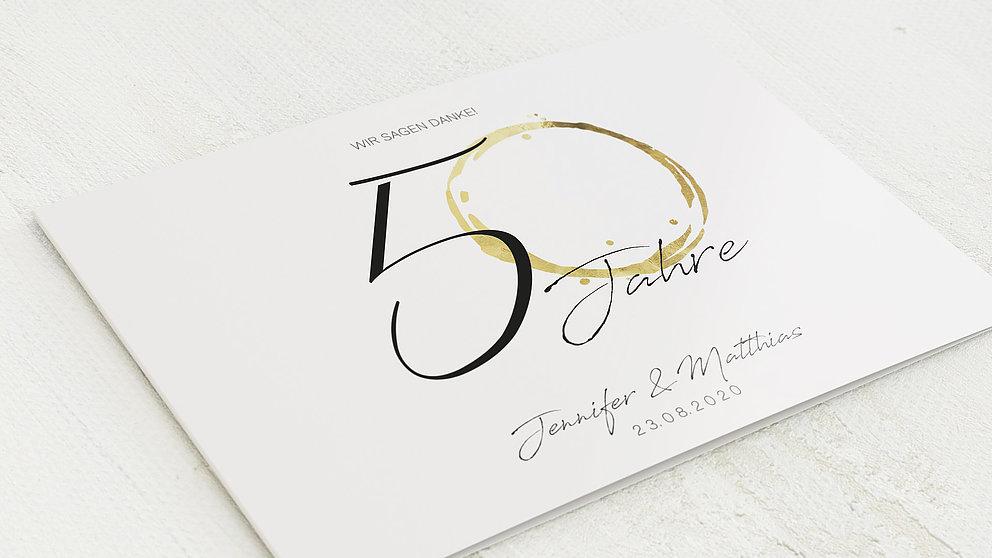 Danksagungskarten Goldene Hochzeit Liebesspur Detail