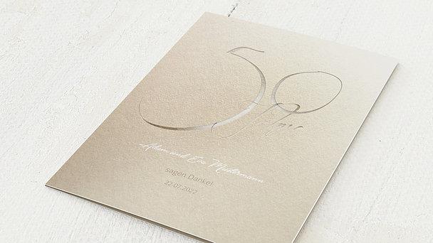 Danksagungskarten Goldene Hochzeit - Goldglanz